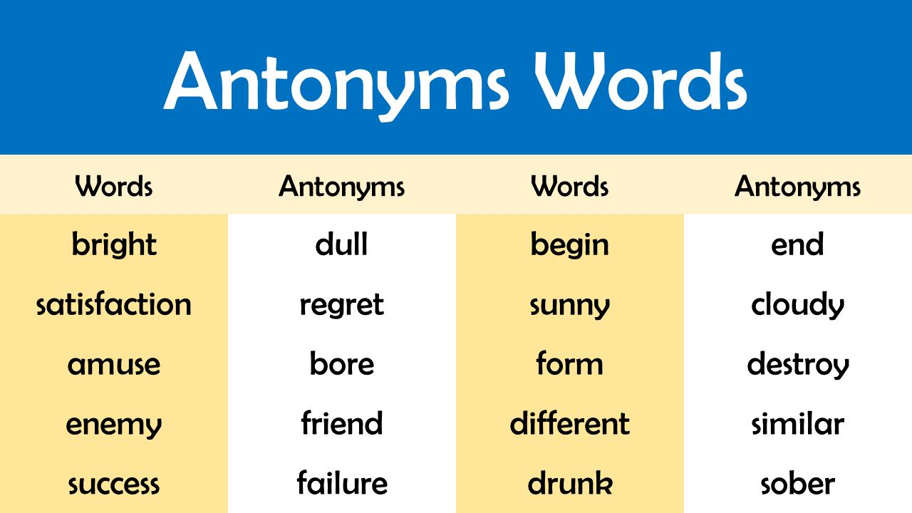 antonym words